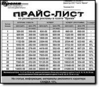 Расценки на размещение рекламы в газете «ВРЕМЯ»